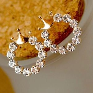 Jewelry - Gold Tones Crown Shape Rhinestone Crystal Earrings